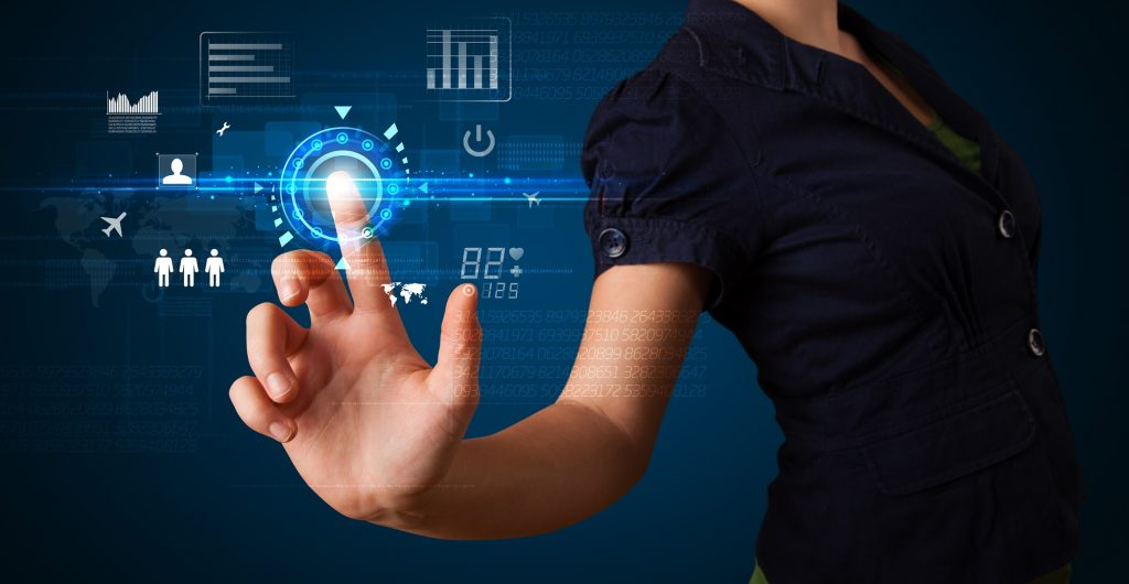 Business woman touching future web technology buttons and icons